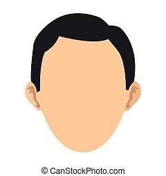 testa, uomo, faceless, icona