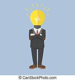 testa, uomo, idea, affari, lampada