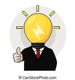testa, uomo, lampada, idea affari