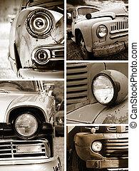 testa, vecchio, collage, automobili, arrugginito, lampada