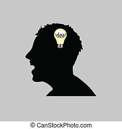 testa, vettore, idea, illustrazione, uomo