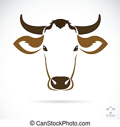 testa, vettore, immagine, mucca