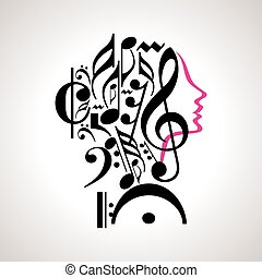 testa, vettore, musica