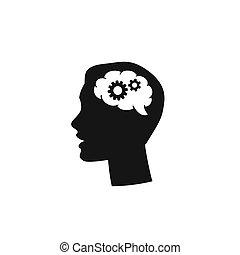 testa, vettore, uomo, silhouette, cervello, ingranaggio, affari, nero