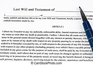 Testament - Closeup to an testament and pen