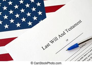 testament, document, leeg, pen, staten, verenigd, leest, testament, vlag