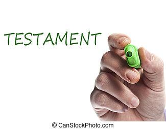 Testament - Hand write with green marker testament