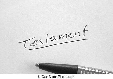Testament handwritten word on white paper