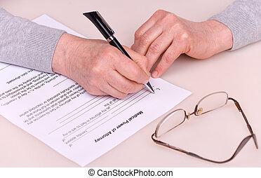 testament, kobieta, starszy, pisanie