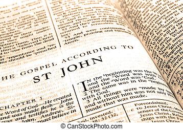 testament, nieuw, straat., bijbel, john