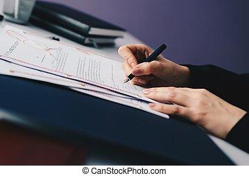 testament, ondertekening, vrouw, leest, testament.