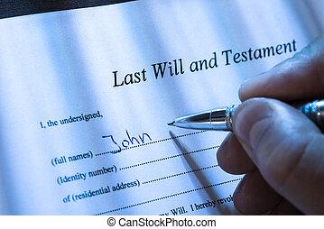 testament, persoon, leest, testament, schrijvende