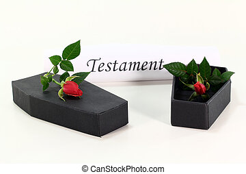 Testament role with coffins and red roses