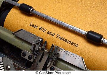 testament, testament, leest, typemachine