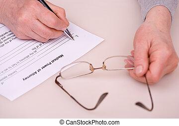 testament, vrouw, bejaarden, schrijvende