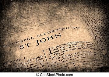 testamento, novo, st., bíblia, john