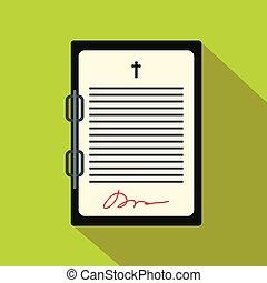 testamento, plano, carta, icono
