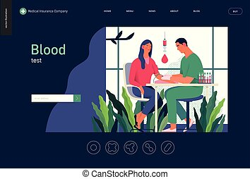 testar, medicinsk, -, blod, mall, pröva