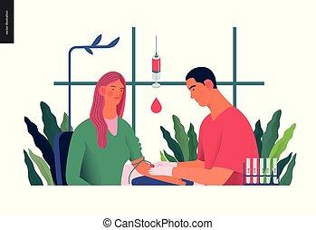 testar, medicinsk, -, illustration, blodprov