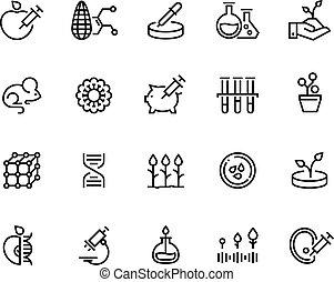 testar, pesquisa, adn, alimento, ciência, genético, icons., símbolos, bacteriologia, engenharia, experiment., laboratório, gmo, linha, agricultura