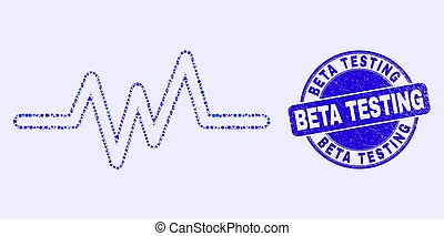 testar, selo, azul, pulso, beta, sinal, arranhado, mosaico