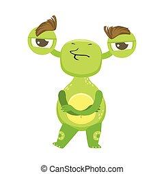 testardo, divertente, mostro, standing, con, braccio attraversarono, straniero verde, emoji, cartone animato, carattere, adesivo