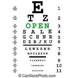 teste, abertos, mensagem, óptico, olho