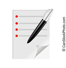 teste, caneta, folha, em branco