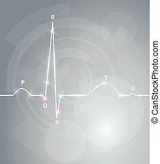 teste, cardiograma, normal