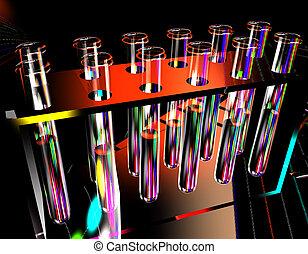 teste, ciência, tubos, fundo