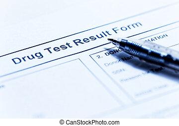 teste, droga, forma, em branco