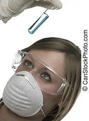 teste, laboratório, tubo, mulher, jovem