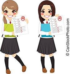 teste, meninas, resultados, estudante