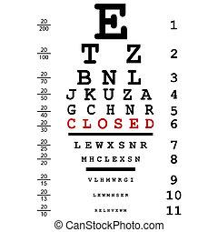 teste, mensagem, óptico, olho fechou
