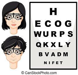 teste, mulher, óculos, homem