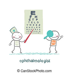 teste, oftalmologista, paciente, cheques, vista