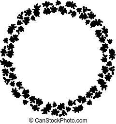 teste padrão flor, flores, grinalda, ornamento, silhouette., pretas, projete elemento