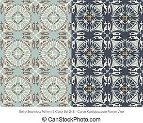 teste padrão flor, videira, curva, seamless, retro, caleidoscópio