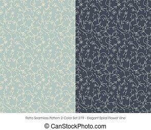 teste padrão flor, videira, espiral, seamless, elegante, retro