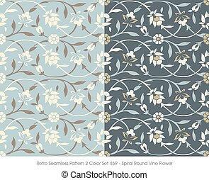 teste padrão flor, videira, espiral, seamless, retro, redondo
