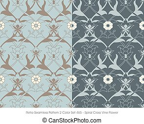 teste padrão flor, videira, seamless, espiral, retro, crucifixos