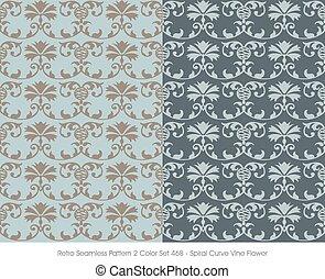 teste padrão flor, videira, seamless, espiral, retro, curva
