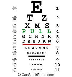 teste, puxar, mensagem, óptico, olho