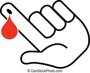 teste, sangue, ícone