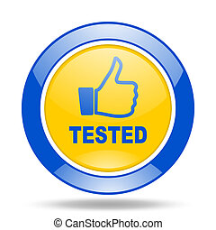 tested blue and yellow web glossy round icon
