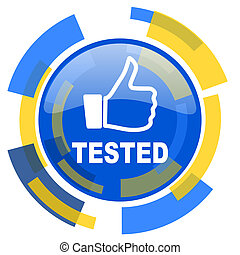 tested blue yellow glossy web icon