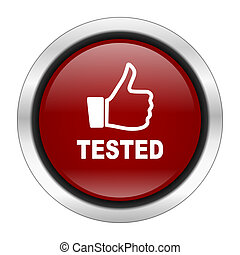 tested icon, red round button isolated on white background, web design illustration