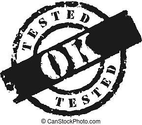 'tested, ok', γραμματόσημο
