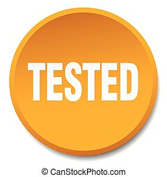 tested orange round flat isolated push button