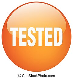 tested orange round gel isolated push button